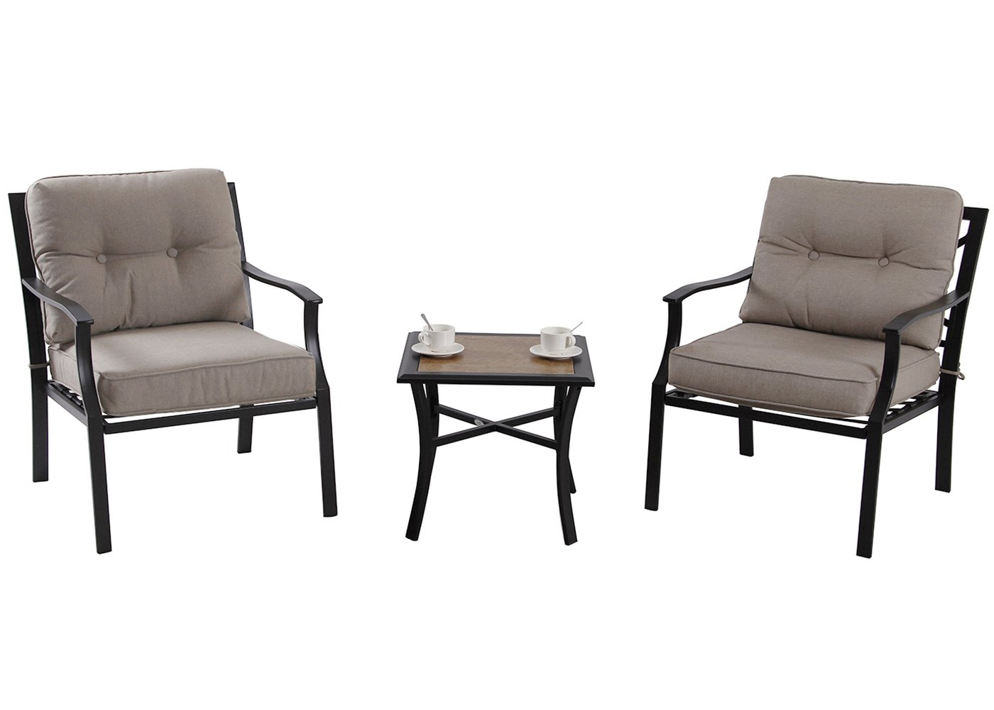 PHI VILLA Patio 3 PC Cushioned Conversation Set Side Table Padded Chairs Outdoor Sectional Furniture, Beige