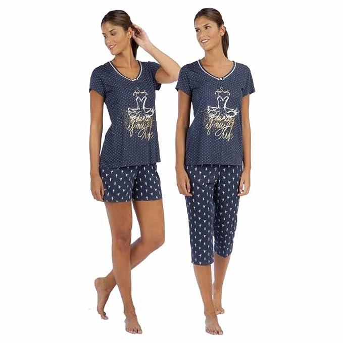 Señoretta Pijama de Mujer de 3 Piezas 181113 - Marino, XXL