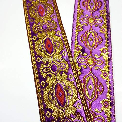 Utini 50mm 5cm 2'' Costume Curtain Decoration Laciness Woven Embroidery National Jacquard Ribbon Webbing Angelas Eye Filigree Purple