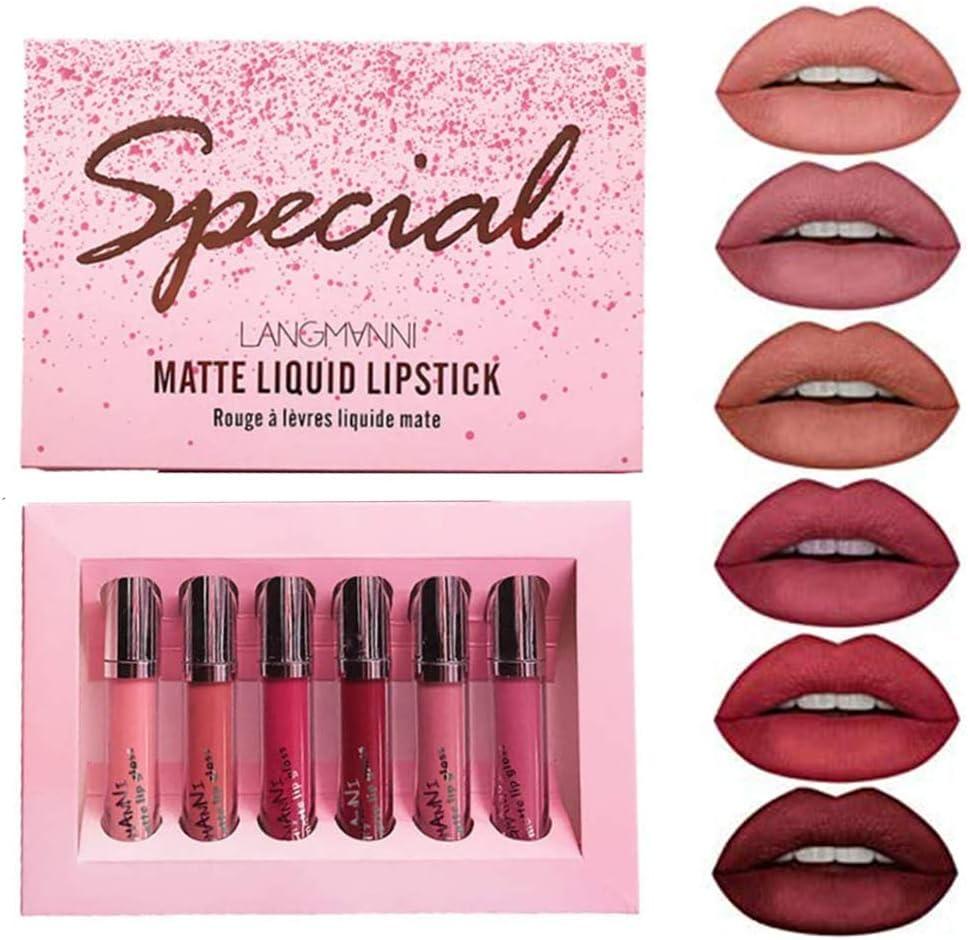 Juego de lápiz labial mate de 6 colores, kit de lápiz labial líquido aterciopelado, impermeable, de larga duración, juego de brillo de labios desnudo, rojo, sexy, antiadherente, taza de labios