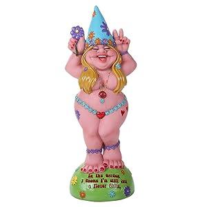 Pacific Giftware Hippie Lady Gnome Flower Child Garden Gnome Statue 12H