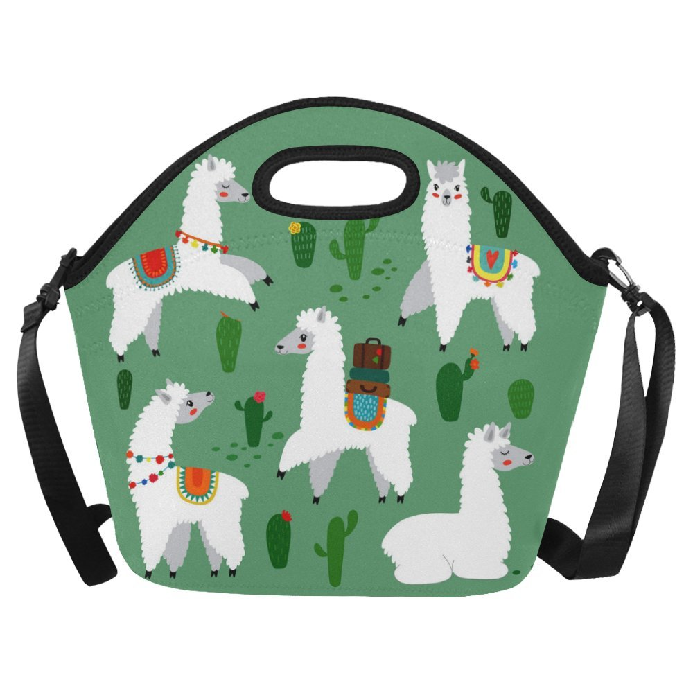 InterestPrint Cute Llama with Cactus Large Reusable Insulated Neoprene Lunch Tote Bag Cooler 15.04'' x 14.21'' x 6.69'', Alpacas Animal Portable Lunchbox Handbag with Shoulder Strap