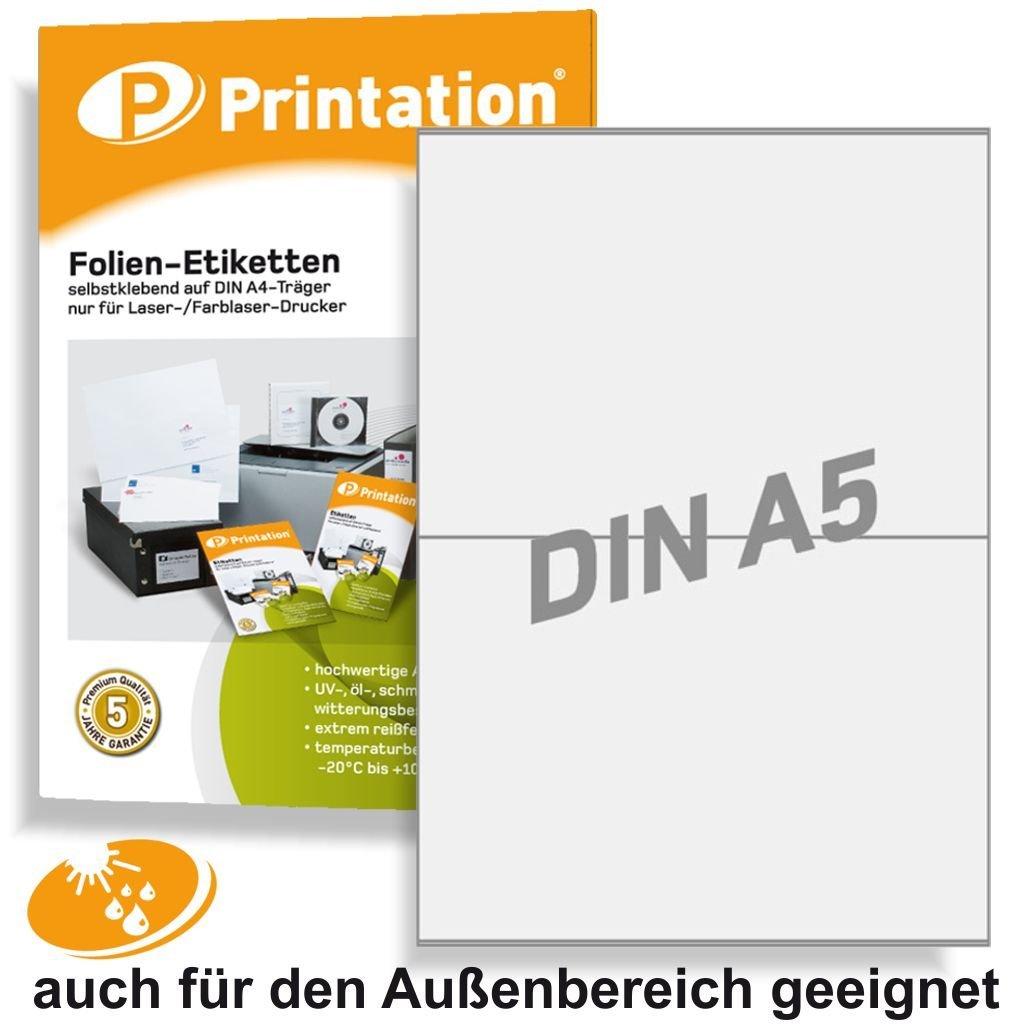 Etichette 210x 148,5mm, resistente alle intemperie trasparente opaco su foglio A4–2A5/A4pagina–20schermo etichette 210x 148,5autoadesiva, con stampante Laser Stampabile Printation