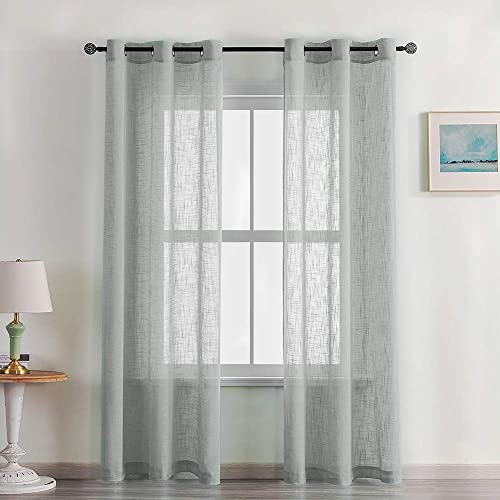 CUTEWIND Linen Textured Grey Sheer Curtains 84 inch Length for Bedroom Curtain Drapes Grommet Top Open Weave Light Filtering Window Treatment Set for Living Room 2 Panels,Grey, W42 L84 Inches