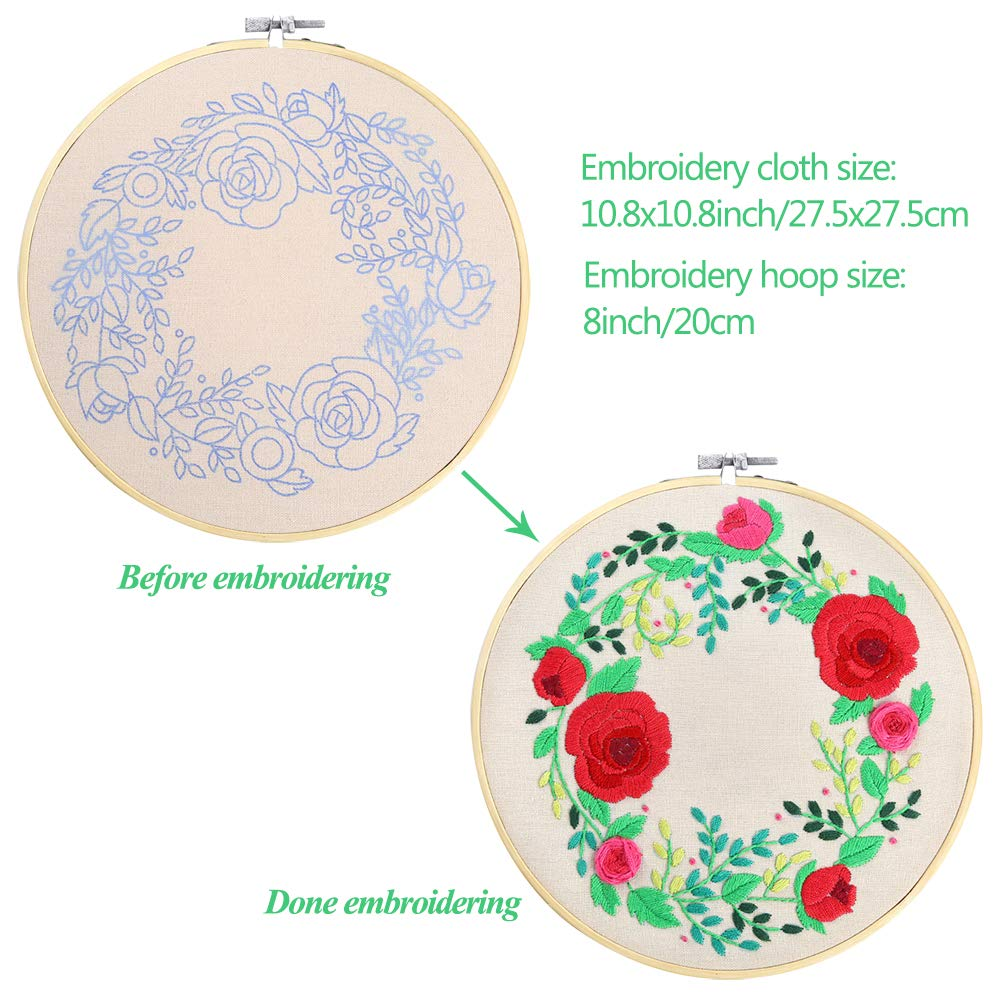 Caydo 2 Sets Full Range of Embroidery Starter Kit with Pattern and ...