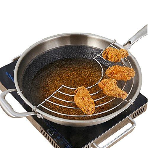 AIYoo Tempura Rack Heavy Duty Stainless Steel Frying Steaming Rack Kitchen Utensils Tempura Rack 11 Inch - Multi-Function Fruit Vegetables Food Strainers Colanders