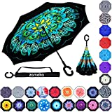 Zameka Double Layer Inverted Umbrellas Reverse Folding Umbrella Windproof UV Protection Big Straight Umbrella Inside Out Upside Down for Car Rain Outdoor with C-Shaped Handle (New Peacock)