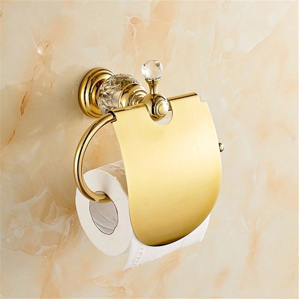 LAONA The Brass gold plated crystal bath hardware hang on towel rack double bar toilet paper holder Toilet brush and toilet paper holder