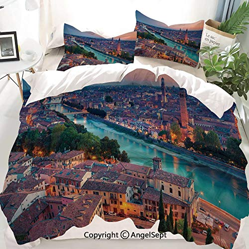 European Decor Duvet Cover Set Queen Size,Verona Italy During Summer Sunset Blue Hour Adige River Medieval Historcal,Decorative 3 Piece Bedding Set with 2 Pillow Shams