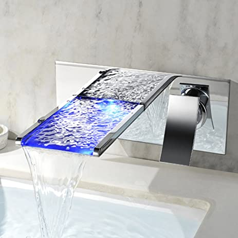 JinYuZe Modern LED Waterfall Bathroom Faucet Wall Mount Solid Brass ...
