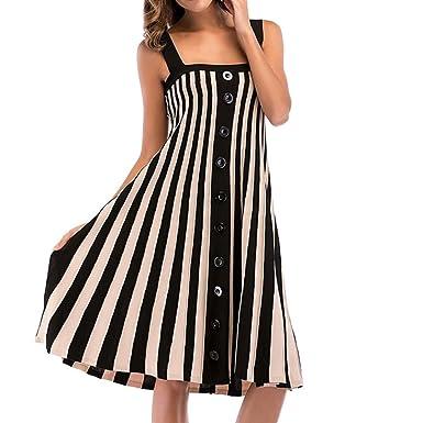 3104f550960 Jaysis Damen Spaghetti Gurt Streifen Einreiher Kleid Strickkleid Partykleid  Sommerkleid (M