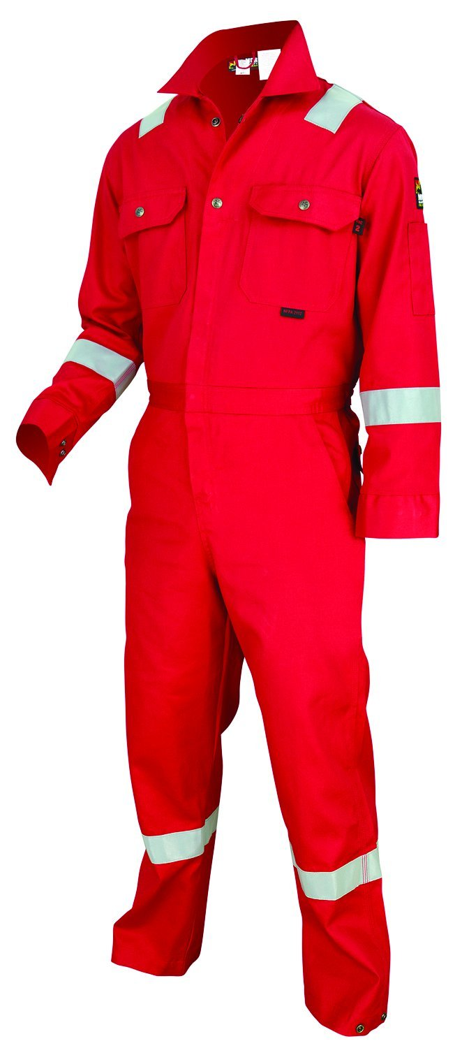 MCR Safety DC1RR60 Deluxe Contractor Flame Resistant (FR) Coveralls with Reflective Tape, Red, Size 60, Chest 60-Inch, Waist 60-Inch, Inseam 30-Inch by MCR Safety (Image #1)