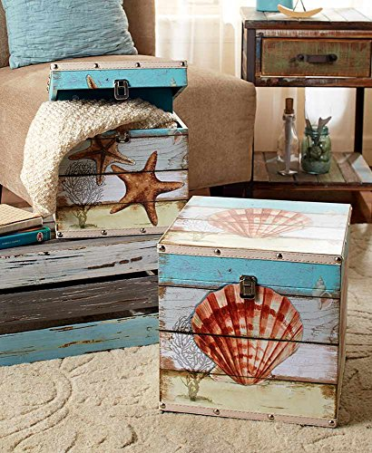 The Lakeside Collection Set of 2 Decorative Trunks Coastal by The Lakeside Collection