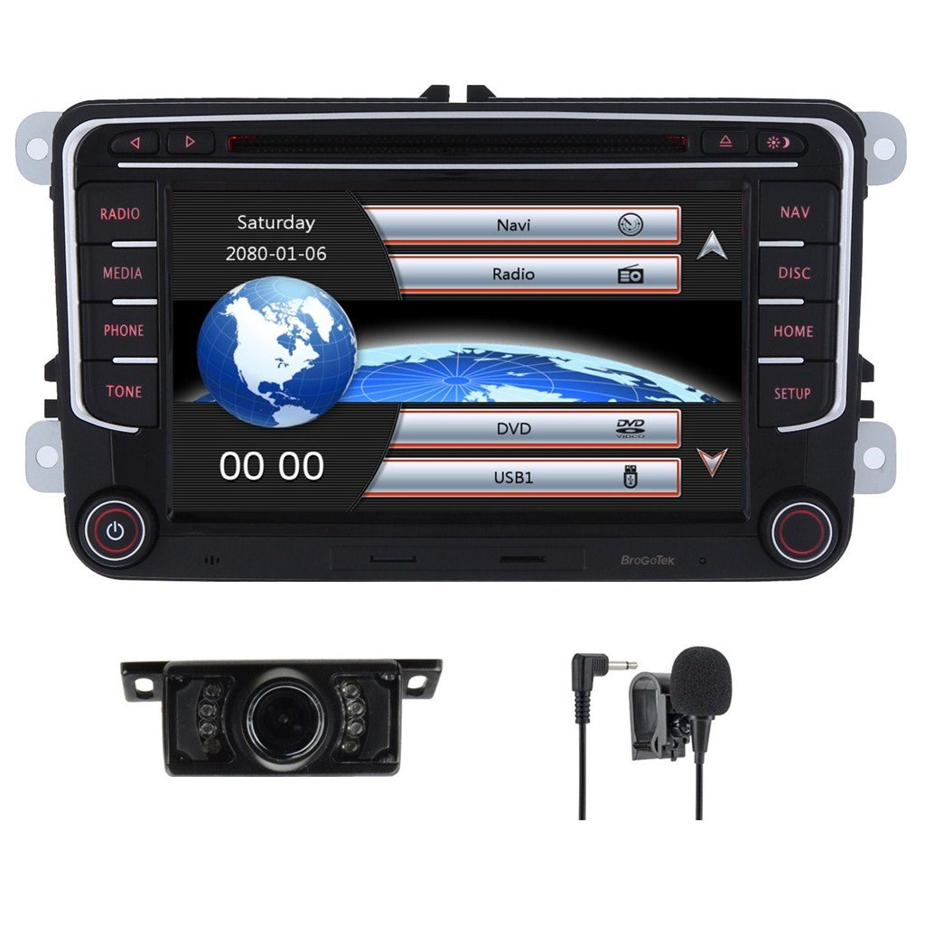 Car Stereo HD 8 Inch Double 2 Din GPS Navigation DVD auto Audio Video for VW Golf Passat Tiguan Polo Jetta Skoda Seat EOS+US Map+Camera+Mic Capacitive Screen (VW 7inch)