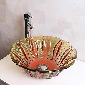 ROUFUW Bad Waschbecken,Blume Form Art Stil Gehärtetem Glas Badezimmer  Waschbecken Wasserhahn