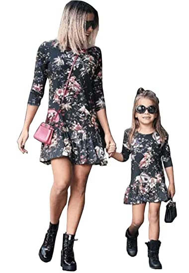 b4dcddda3e Mommy and Me Dresses Boho FloralC Summer Casual Blouse Dresses Family  Matching Flowy Maxi Dress Outfits