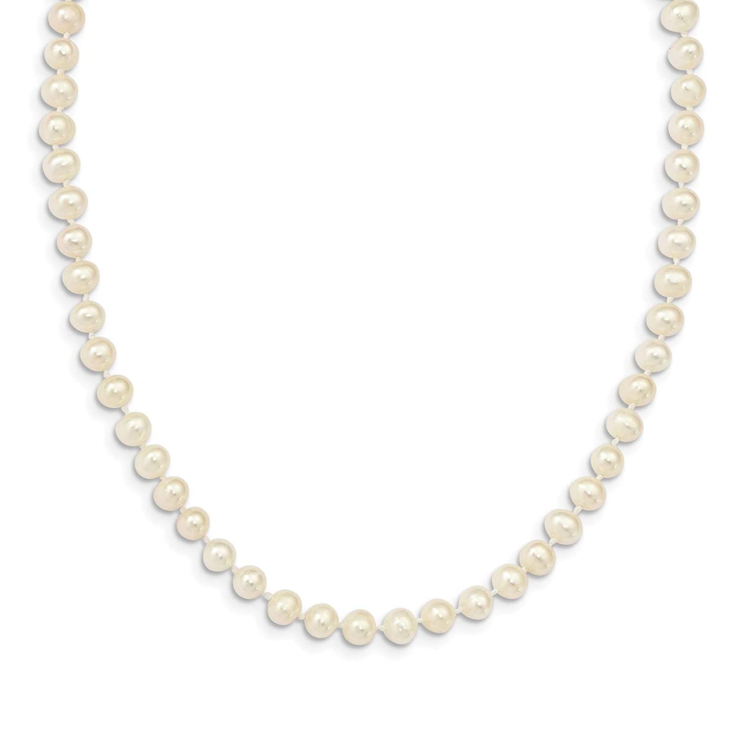 925 Sterling Silver Rhodium-plated 5-6mm Freshwater Cultured Pearl Necklace 14 w// 2 Extender by Madi K