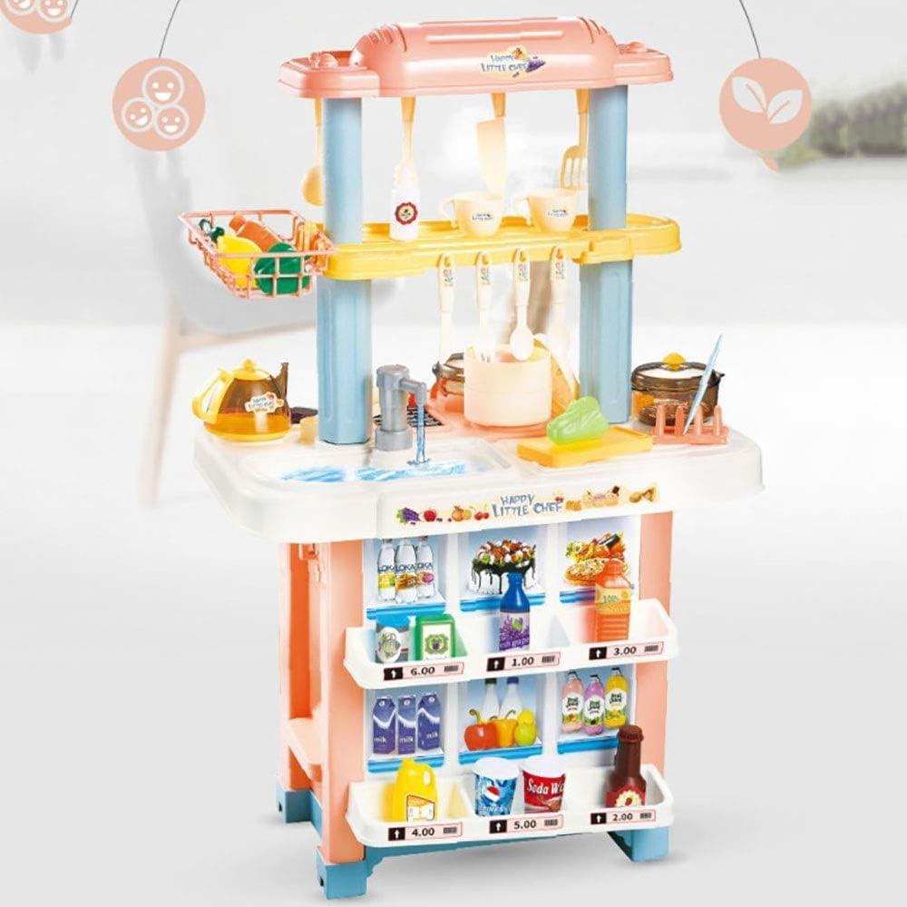 子供用キッチンおもちゃ キッチンごっこ遊びのおもちゃのキッチンクッカー子供クッキングロールプレイおもちゃ83x54x39cmをふり キッチングッズアクセサリー (Color : Orange, Size : 83x54x39cm)