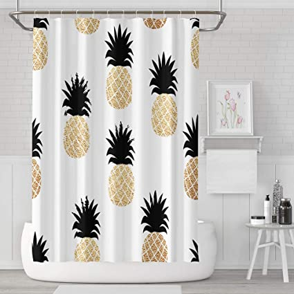 """72X72/"""" Black and White Wave Stripes Pineapple Shower Curtain Waterproof Fabric"""