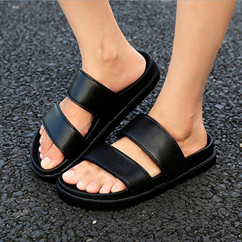 Flip Couple TM Women Black Outdoor Fashion Sandals Men Elevin men Sandals Summer Indoor Beach Flops tzqZ4wx