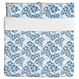 Hawaiian Hibiscus Blue Duvet Bed Set 3 Piece Set Duvet Cover - 2 Pillow Shams - Luxury Microfiber, Soft, Breathable