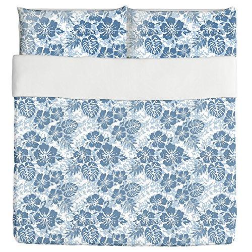 Hawaiian Hibiscus Blue Duvet Bed Set 3 Piece Set Duvet Cover - 2 Pillow Shams - Luxury Microfiber, Soft, Breathable by uneekee
