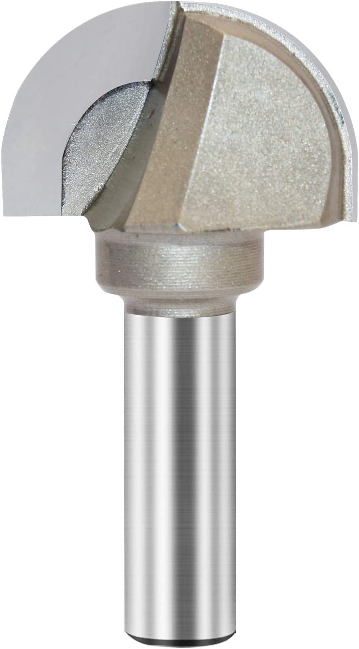 x 1//2 inch Shank 1//2X1-3//4 Core Box Router Bit Double Flute Round Nose Router Bit Carbide Tipped Woodworking Tool Round Groove Router Bit 7//8/'/' Radius x 1-3//4 Dia