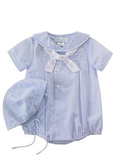 Amazon.com  Petit Ami Infant Boys Blue Sailor Bubble Suit Outfit ... 1dc3a9043472