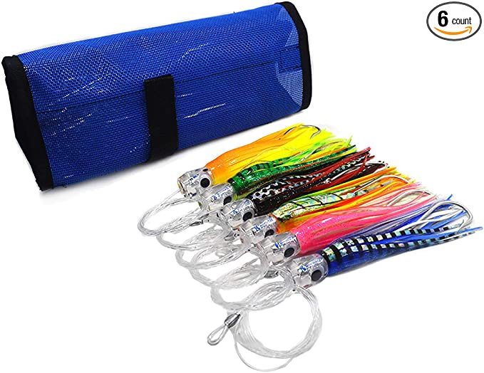 Included 9 inch Big Game Fishing Lures and Free Mesh Bag kmucutie Set of 6 pcs 9 inch Trolling Skirt Lures Marlin Tuna Dolphin Mahi Durado Wahoo
