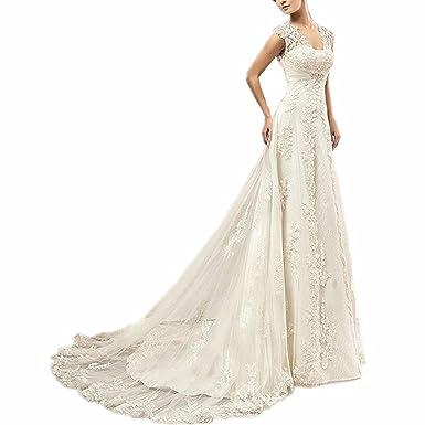 Evankou Damen Lang Spitze Brautkleider Hochzeitskleid Vintage Mit