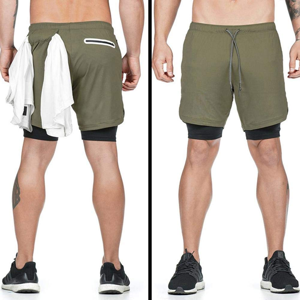 Kapokilly Short De Fitness Double Couche Short 3 en 1 pour Homme Short De Compression /À S/échage Rapide pour Pantalons De Fitness Int/égr/és.