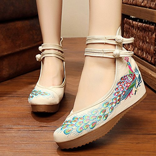KHSKX-Alte Schuhe Damenschuhe Folk - Schuhe Schuhe Mit Pfau Bestickt Muster Schuhe Frau Schuhe Mit Steigung Beige