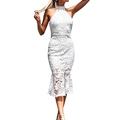 3ed3b8a0bfc Elogoog 2018 Women s Sexy Sleeveless Halter High Neck Lace Cocktail Party  Bodycon Midi Dress at Amazon Women s Clothing store