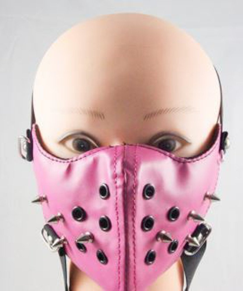 Pink RIvet Ski Motorcycle Biker Cosplay Horror Steampunk Punk Goth PU Leather Mouth Half Face Mask