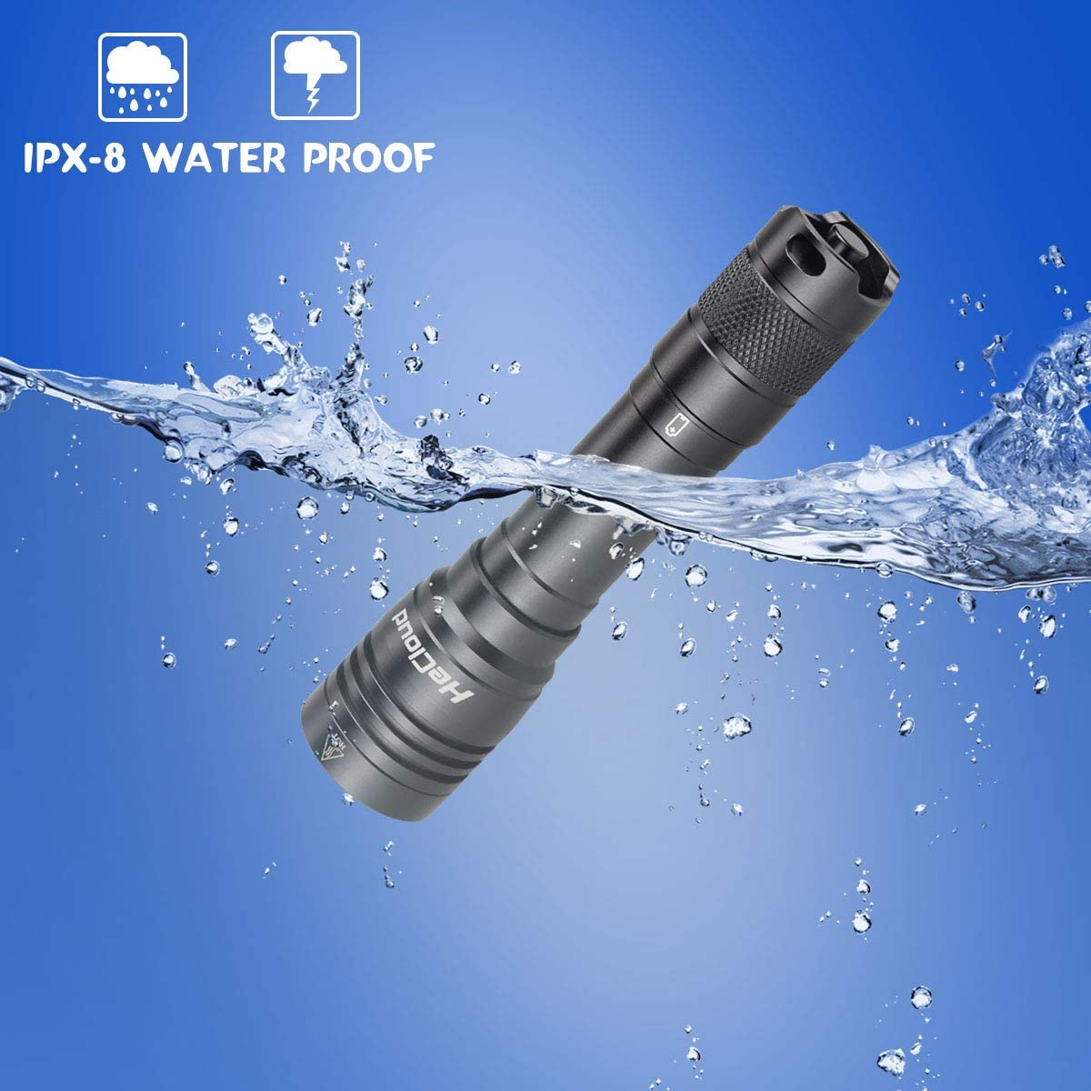 Home Use Land HECLOUD IPX8 Water-Resistant Waterproof Flashlight Professional Scuba Diving Light with Rechargeable Battery and USB Charger 4 Modes LED Dive Torch fit Underwater 100M