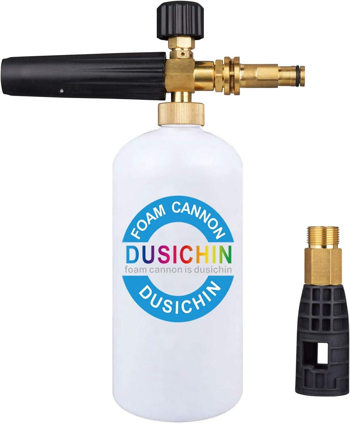 DUSICHIN DUS-115 Foam Cannon Lance for Sun Joe Adjustable Snow Soap Sprayer Sunjoe SPX Pressure Washer Gun Jet Wash Brass Quick Connector 33Oz Container
