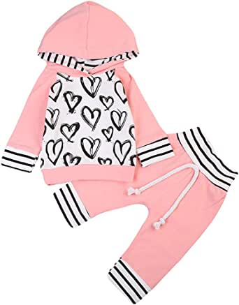 MA&BABY Newborn Baby Girls Hand-Painting Heart Tops Hoodies Pants 2Pcs Outfits Clothes Set