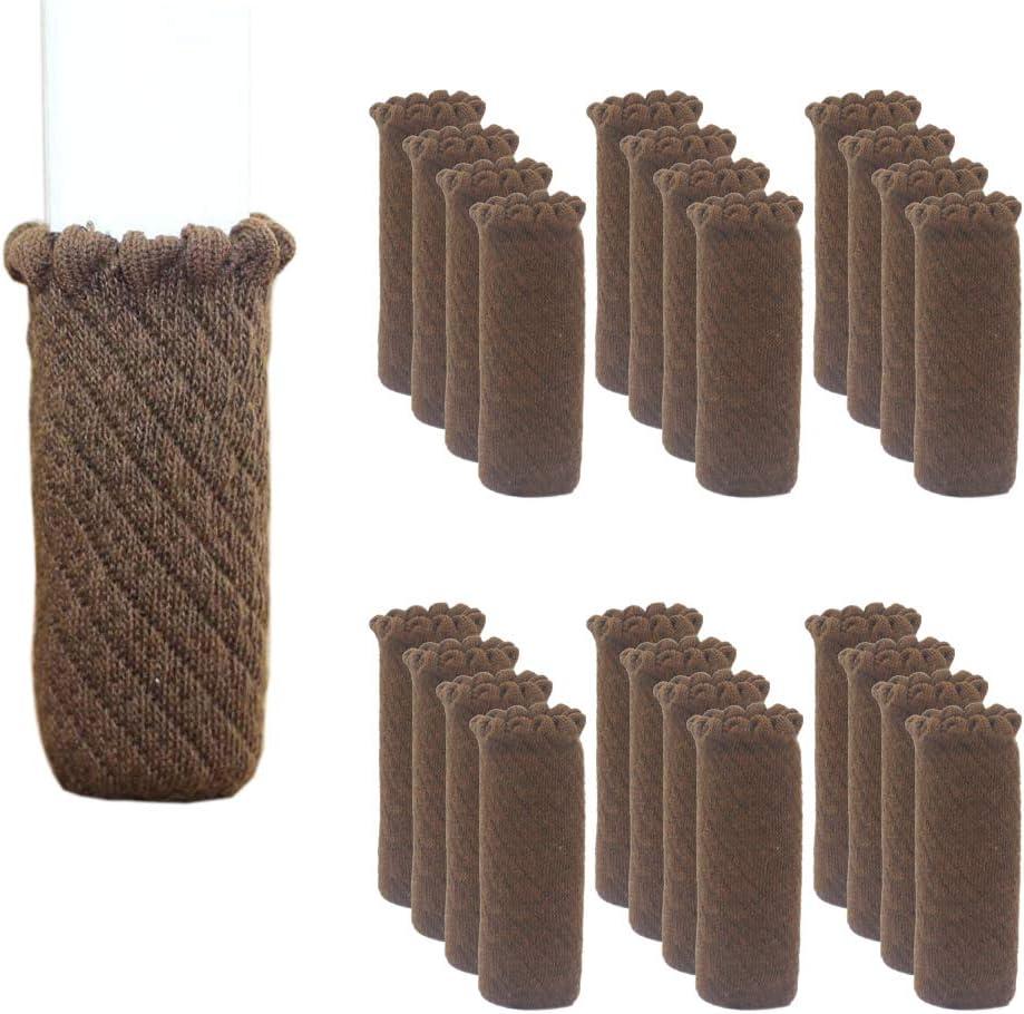 24 protectores para patas de silla de color marr/ón.