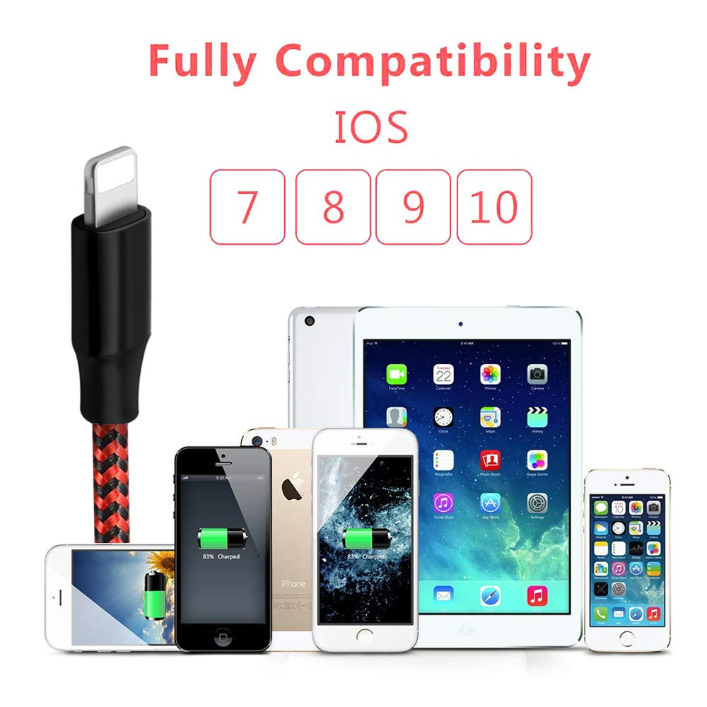 Mfi Certified Lightning Cables 5Pack 2x3Ft 2x6Ft 10Ft to USB Syncing Data and Nylon Braided Cord Charger for iPhone XS//Max//XR//X//8//8Plus//7//7Plus//6S//Plus//SE//iPad and More iPhone Charger