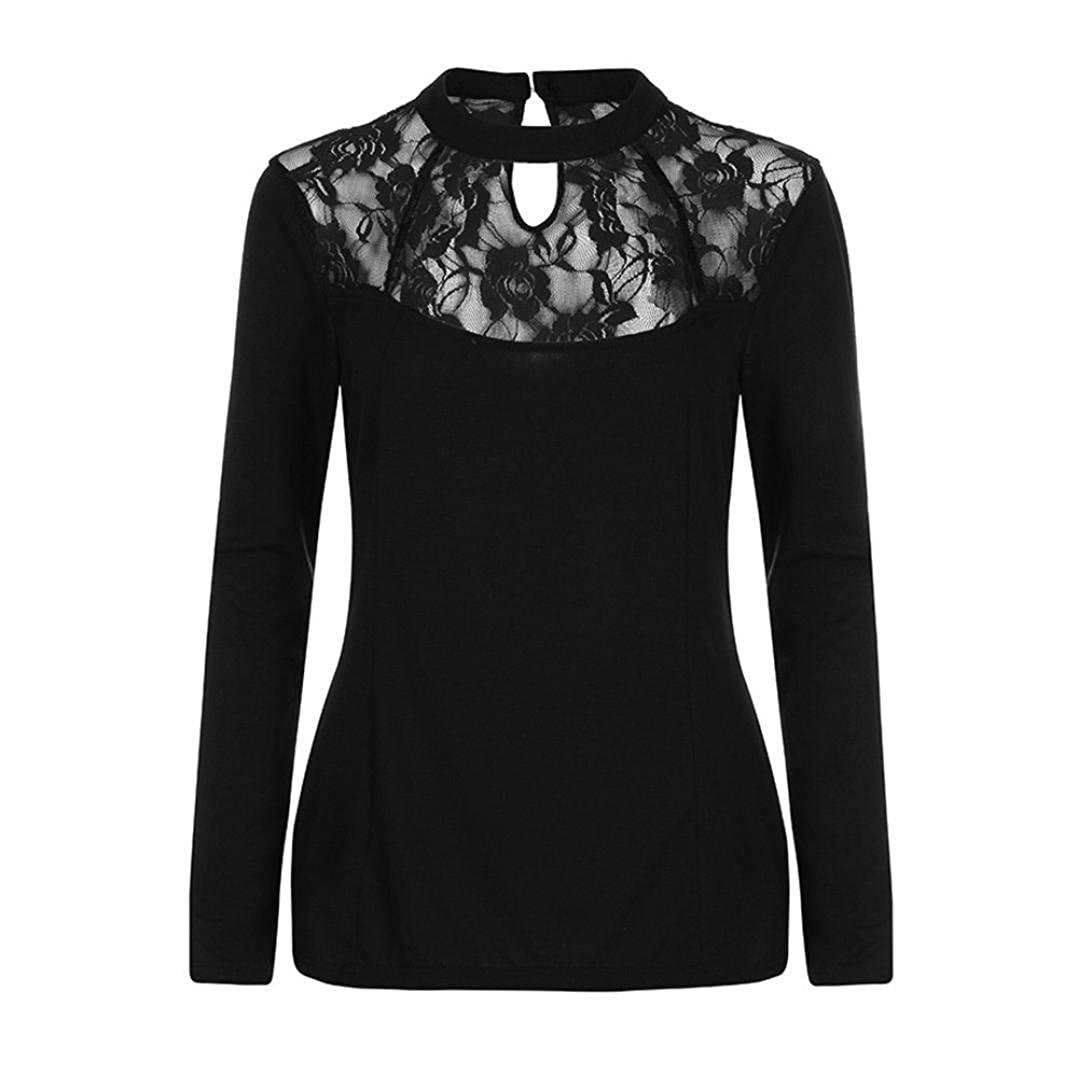 02427bdbec TOPUNDER Womens Long Sleeve Tops Solid Plus Size Lace Casual Blouse ...