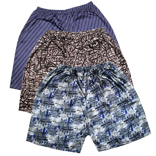 (Pack of 3) Mens Sleepwear - Silk Couture Boxer Shorts / Pajama Shorts M-L Multicolor Silk Couture Dress