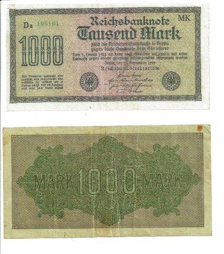 German Reich Currency Bill - Authentic Deutsche Reichsbanknote Tausend Mark (1,000 Marks) - Dated: Berlin, September 15, 1922