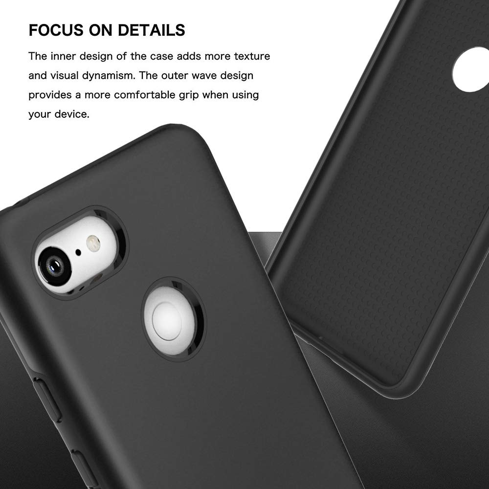 Google Pixel 3 XL Case, Androgate Hybrid Matte Shock Absorption Protective Back Cover Bumper Case for Google Pixel XL3, Black