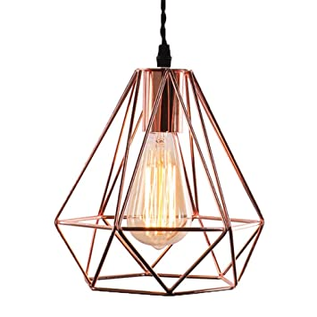 Vintage Industrielle Lampe Suspension Métal 3d Diamant Shape Lustre