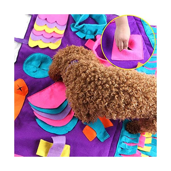 Pet Snuffle Mat Dog Foraging Mat Non-slip Dog Sniffing Mat Feeding Mats Training Mats Pet Training Feeding Stress Release Pad Nosework Blanket Washable Soft Interactive Puzzle Toy for Dog Cat 90cm 4