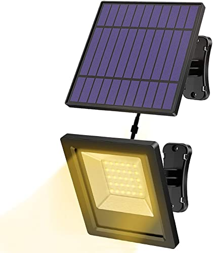 Solar Lights, Hikeren Outdoor Solar Lights, 30 LED Solar Outdoor Lights, IP65 Waterproof Solar Light 16.4 Ft Cord Led Lights with Adjustable Angel Solar Panel for Front Door, Home, Yard, Porch