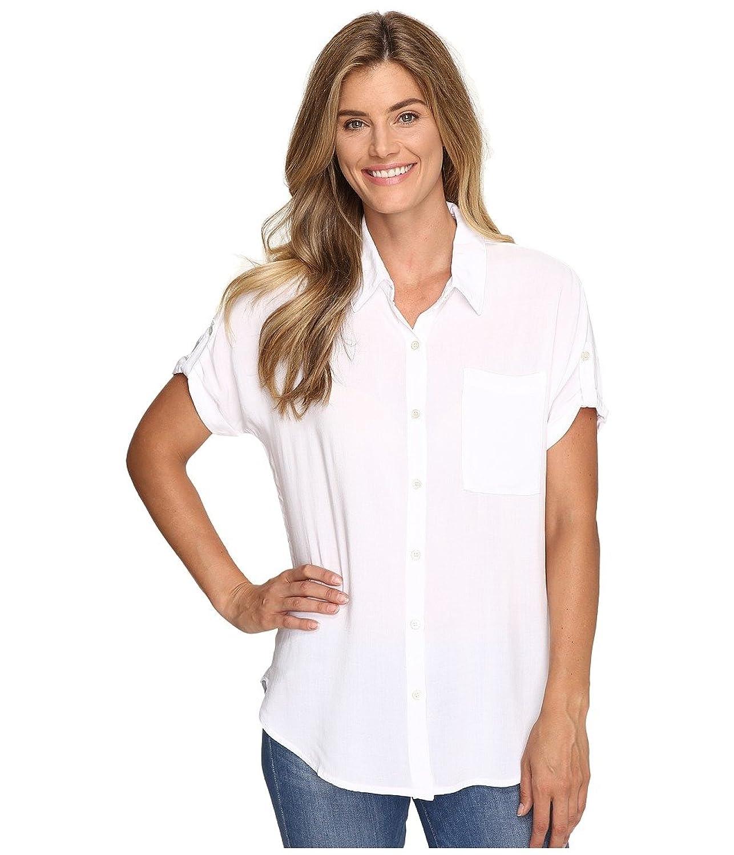 Allen Allen Women's Tab Sleeve Button Front Shirt