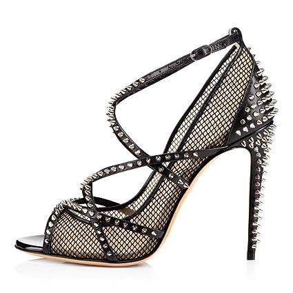5d13cc7ee4475 Amazon.com: FCXBQ Studded Sandals, Stiletto Open Toe Fish Mouth ...