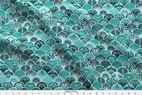 Spoonflower Peacock Fabric - Peacock Fish Scale Aqua Flapper Palm Leaf Propeller - by Lucinderella Printed on Fleece Fabric by The Yard (Scale Propeller)