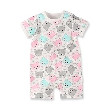 07c86b7481705 Baby Nest 夏 ベビー服 半袖ロンパース 女の子 男の子 肩ボタン フルプリント コットン クマ 3-